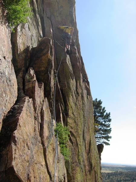 Steve on the 3rd pitch traverse of Ruper in Eldorado Canyon.