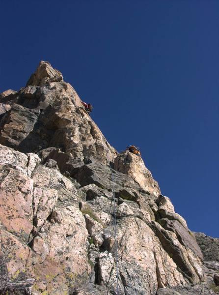 Fabio and I leading on the 4th Ace of Blitzen Ridge.