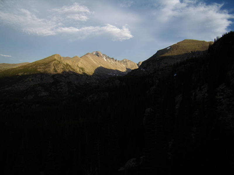 Longs Peak at sunset from the hike out to Bear Lake.  June 2007.