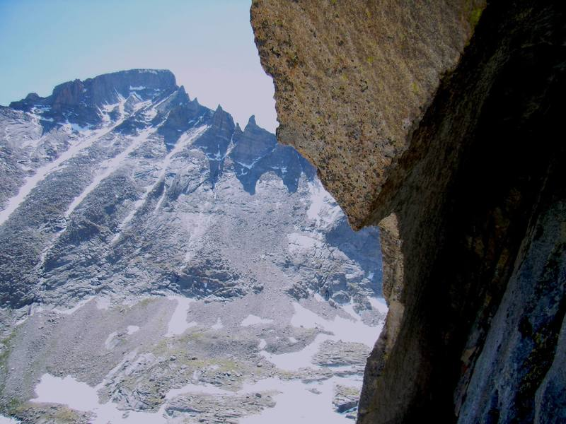 Longs Peak from the belay at the crux pitch of Sykes Sickle.  RMNP June 2007.