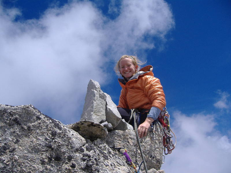 Becky on the summit of Pizzo Balzetto.