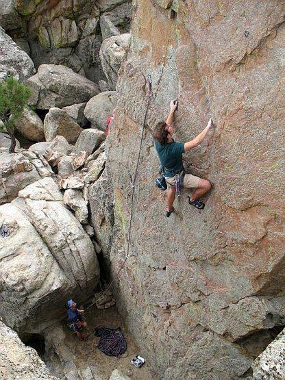 Phil enjoying the moves on Dead Man Chalking (5.10b), Holcomb Valley Pinnacles