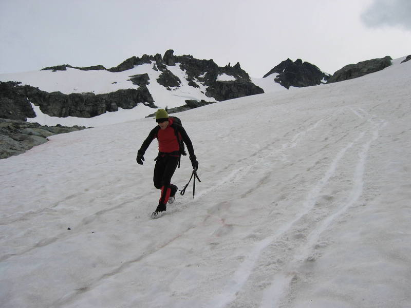 Glissading down the Anniversary Glacier after climbing Joffre.