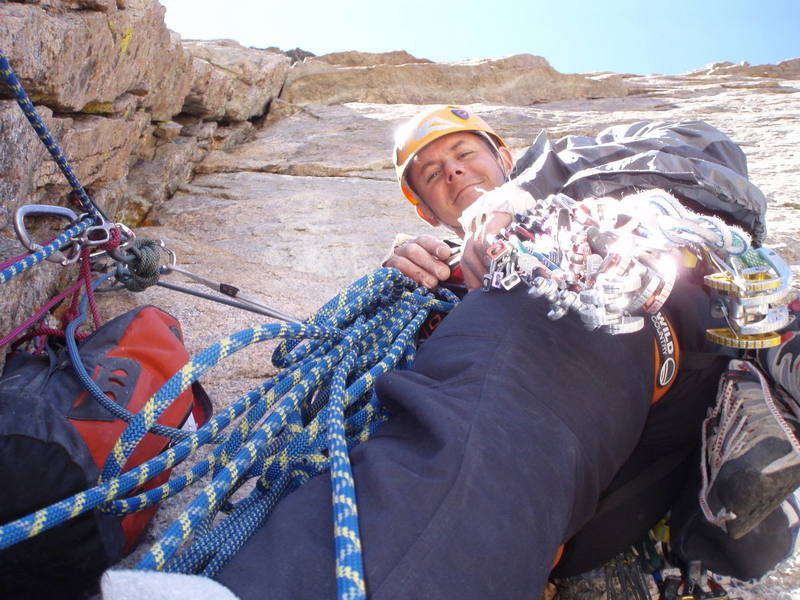 The comfy yet tight belay stance for the fourth pitch.