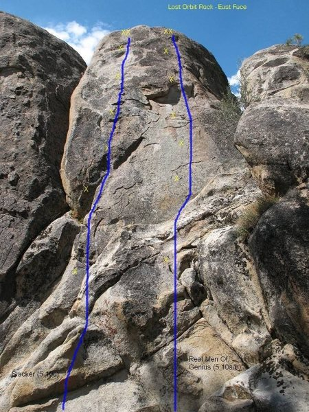 Slacker (5.10c) on the left and Real Men Of Genius (5.10b) on the right.