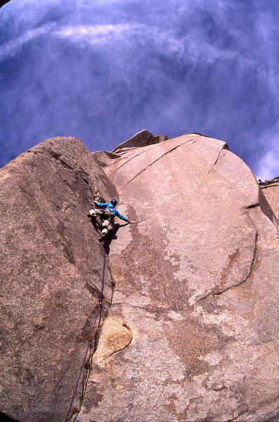 The crux moves on the 3rd pitch of Dreamweaver.