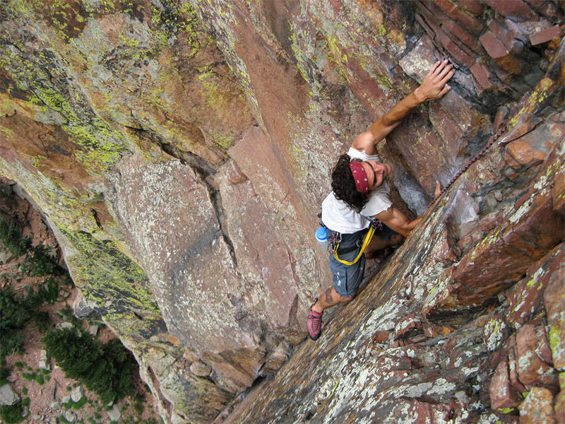 Anthony Yenason on the fourth pitch dihedral of Yellow Spur.