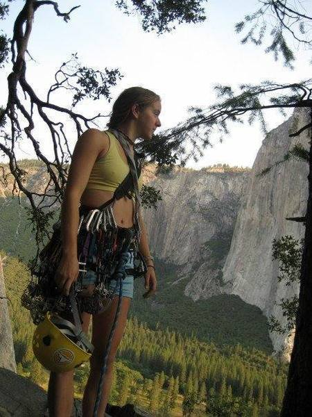 me getting ready to climb the east buttress of middle cathedral in yosemite
