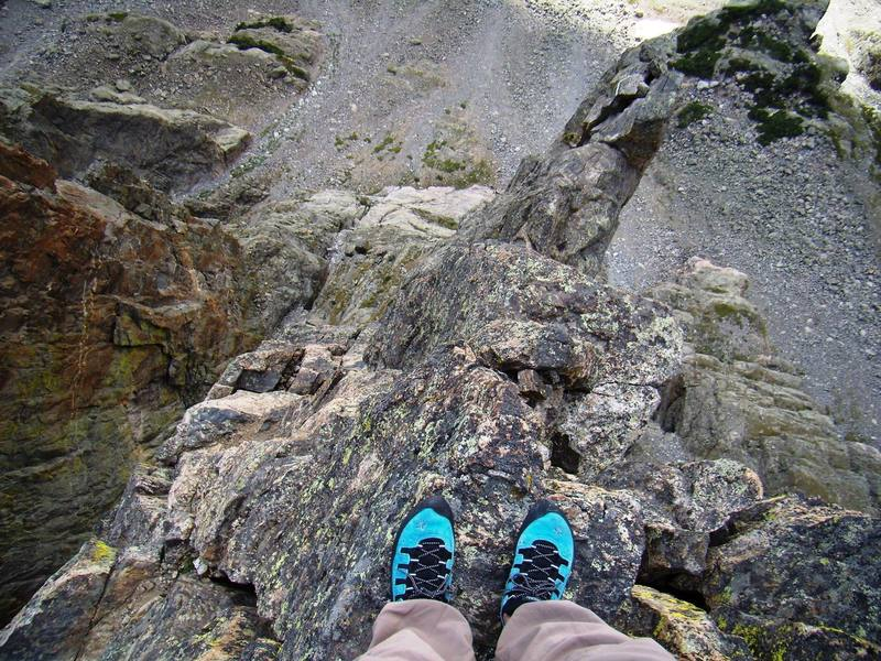 Looking down from the summit of the Petit Grepon RMNP.  Sept 2007.