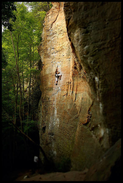 """""""To Defy Laws of Tradition"""", 5.10a, Left Flank, Red River Gorge, KY."""