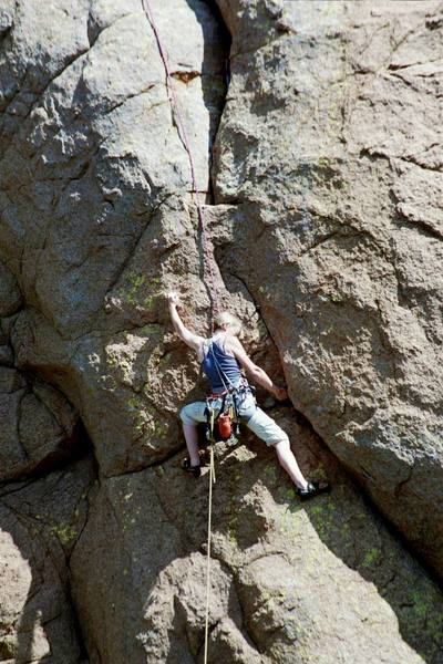 Kate Chandler on the crux of Fuson's Folly, the undercling works pretty well.