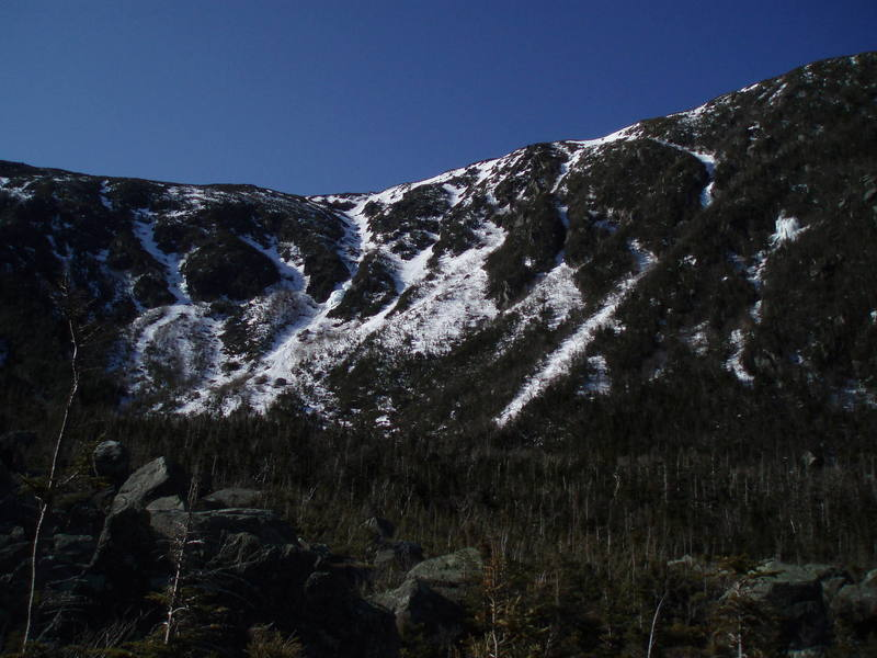 The right side of the ravine headwall in a low snow year. Great Gully is the large one in the center. Other potential climbs are seen to the right.