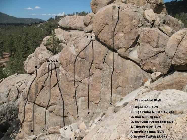Thunderbird Wall photo/topo, Holcomb Valley Pinnacles