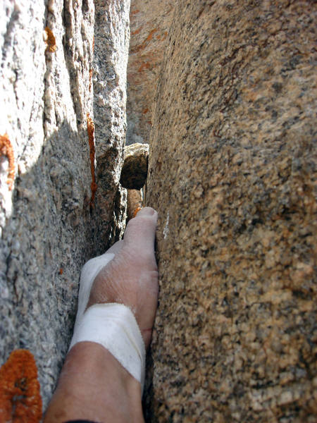 View straight up the handcrack on pitch two.  This could be near the top of pitch one.  Hard to recall six years later.