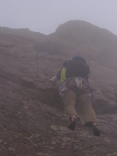Up into the fog on the 1st Flatiron!