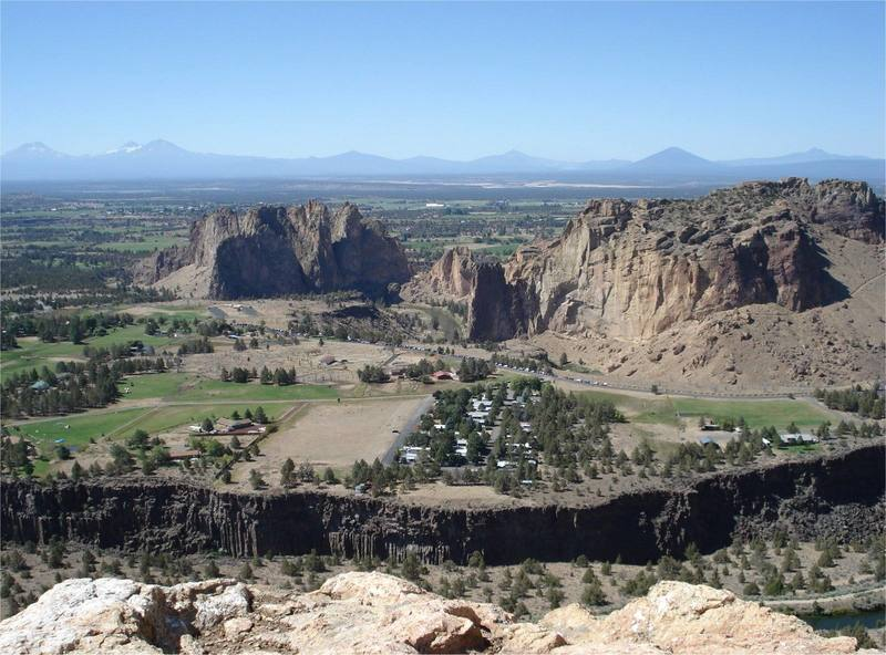 View of Smith Rock State Park from the summit of Brogan Spire.