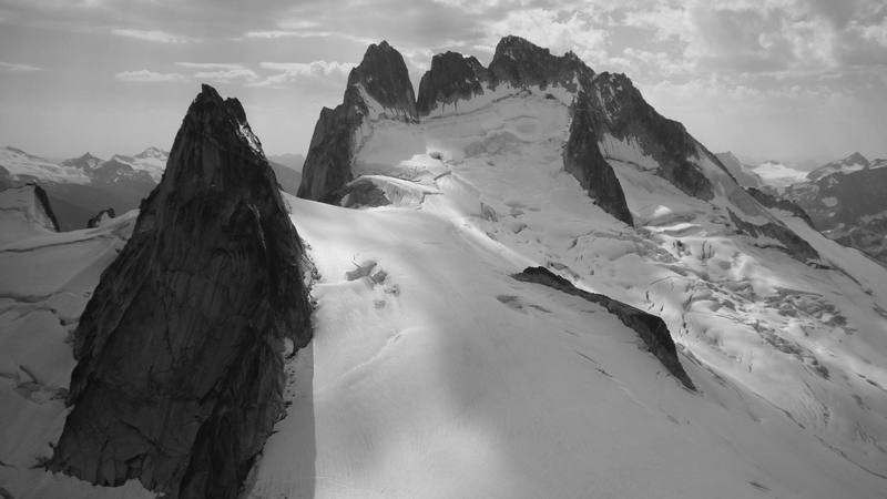 Pigeon Spire and the Howser Towers as seen from the summit of Snowpatch.
