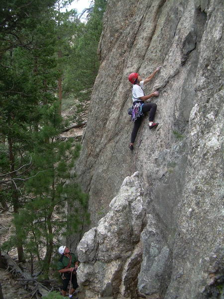 Nice climbing.  Seems to have cleaned up, but still mica-rich rock makes for careful movements.