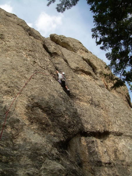 Allen at the 2nd crux.  Overall, seems as challenging as Adam's Rib.