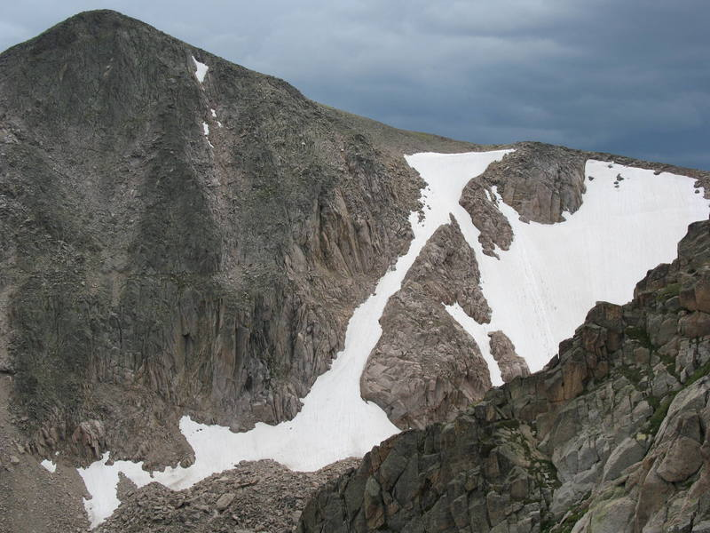 Tyndall Gully and Tyndall Glacier as seen from Flattop Mountain, 7-21-2007.