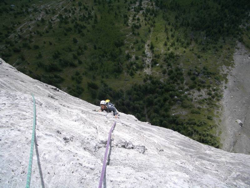 Dave at the slabby crux of the 7th pitch