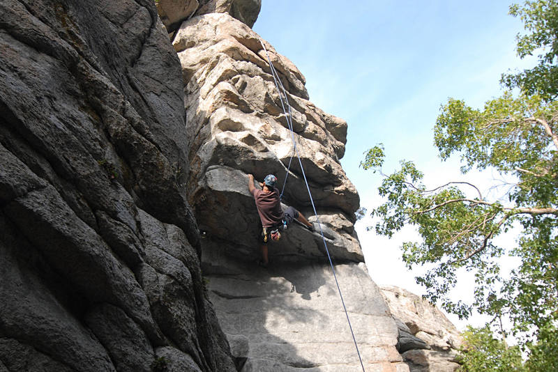 Pulling the roof; this is part of the crux sequence