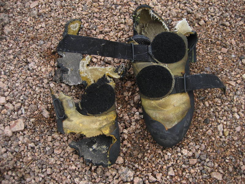 2 routes at Vedauwoo and my shoes are totally trashed!  This place is hard on gear!!!  ...just kidding, if you lost these at Holy Saturday, don't bother looking for them any more.