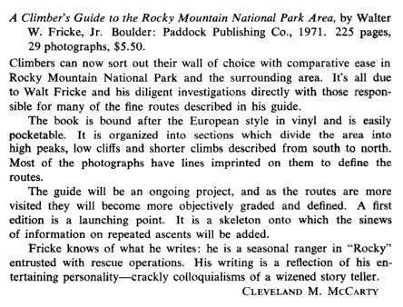 1973 AAJ blurb about the release of Walter Fricke's A climber's guide to RMNP.