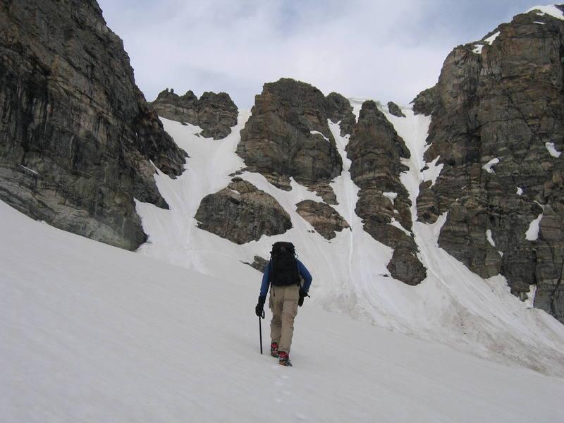 Nearing the steep crux of the climb.