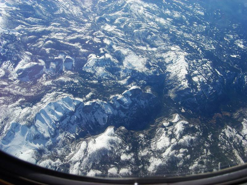 Yosemite Valley from 33,000 feet.  Flying into San Francisco in February 2006, I was treated to this amazing view.