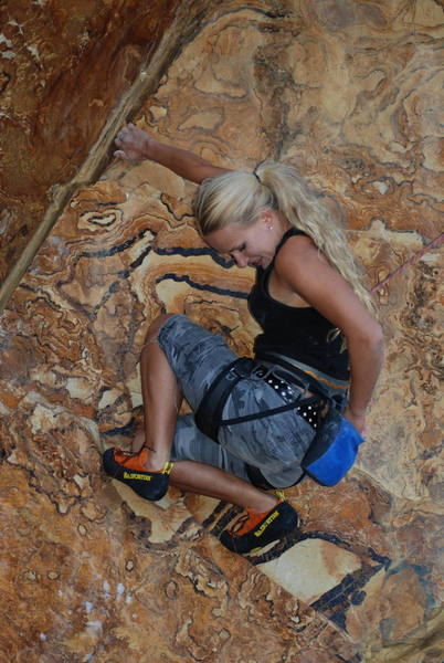 My favorite picture, Naomi on the FA on TR of the roof climb between the other two.