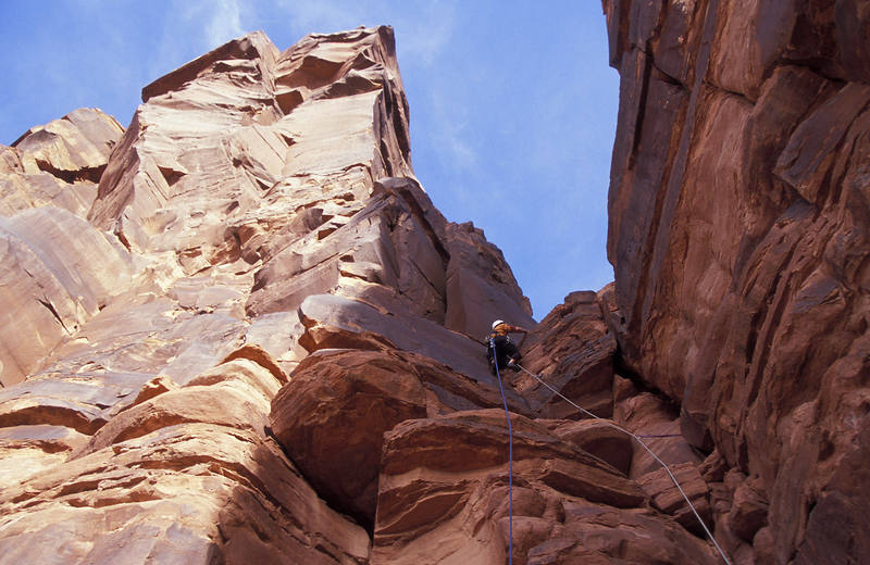 Pavel Kejla on the short 5.6 pitch that accesses the backside of Lighthouse Tower and Dolomite Spire.