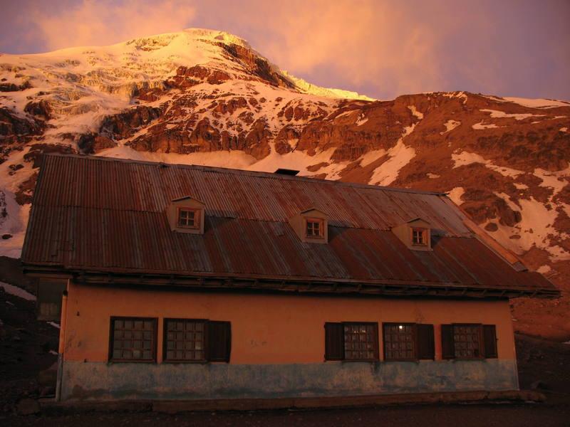 Sunset on Chimborazo and the upper refugio.