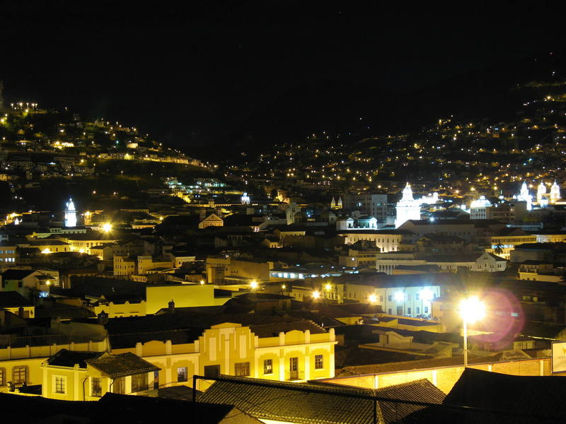 Old town Quito after hours.