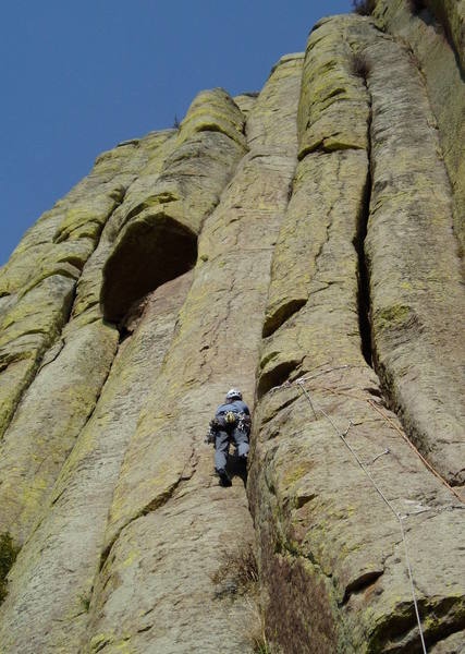 After doing the high traverse. If you're planning on linking P1 and P2, you don't want to place gear for a while in the left crack.