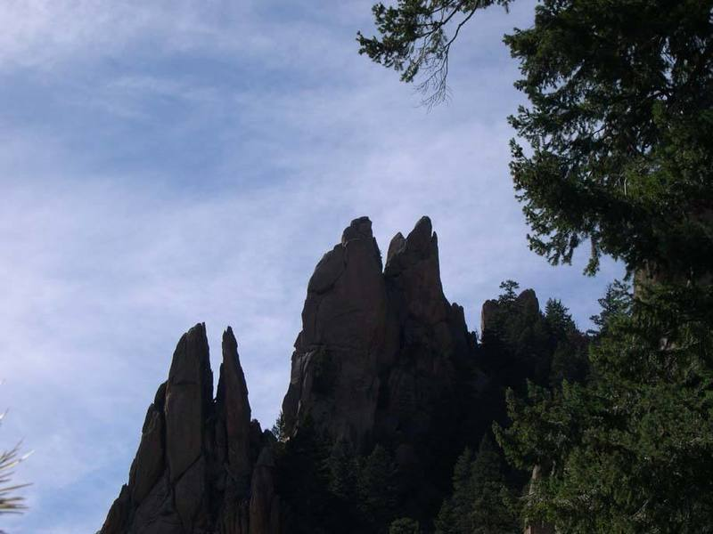 A look back while hiking to Cynnical Pinnacle, Rip Van Winkle is in the middle.