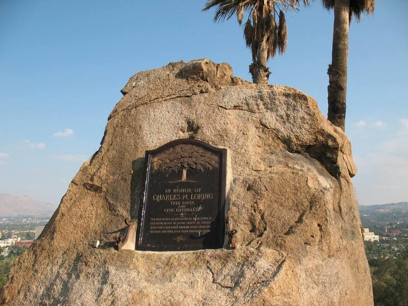 You'll find this plaque honoring Charles M. Loring on the southeast corner of the hill, Mt. Rubidoux