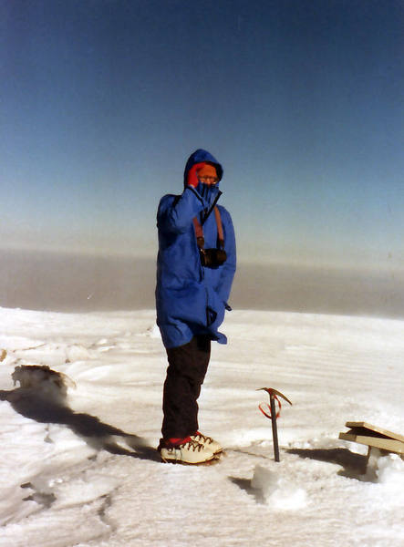 On the summit of Mount Baldy - Xmas 1989 - very windy and deep snow.