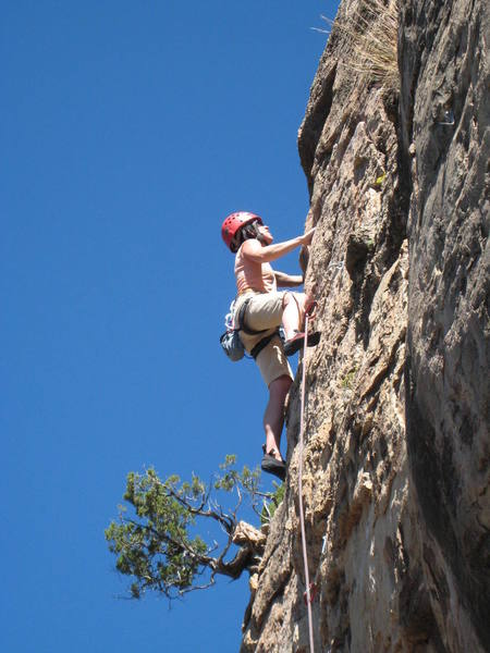 Climbing the moves above what we consider the crux of TCICMM.