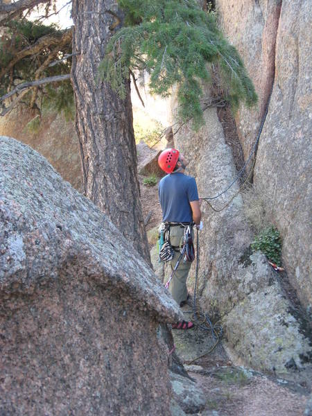 Tree belay at the bottom of the crack.