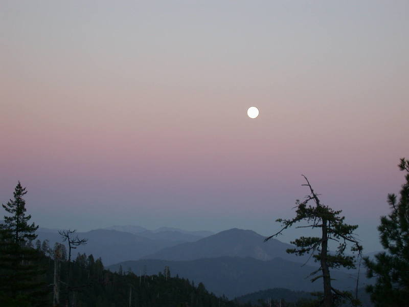 The full moon rising over the Trinity Alps viewed from The Land of the Lost.
