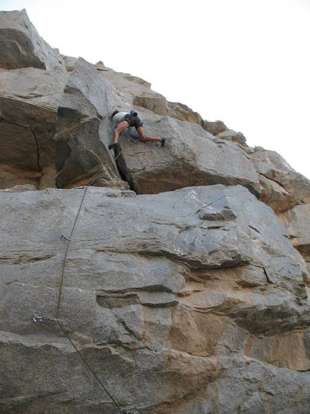 Dave enjoying the jams and stems on Cling Thing (5.10b), Riverside Quarry