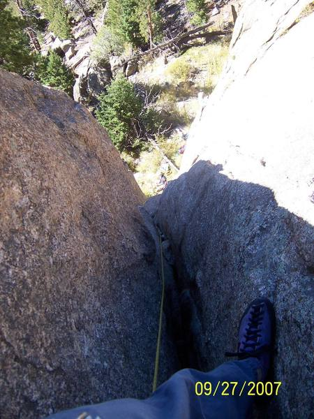 Looking down the 'Right Chimney'