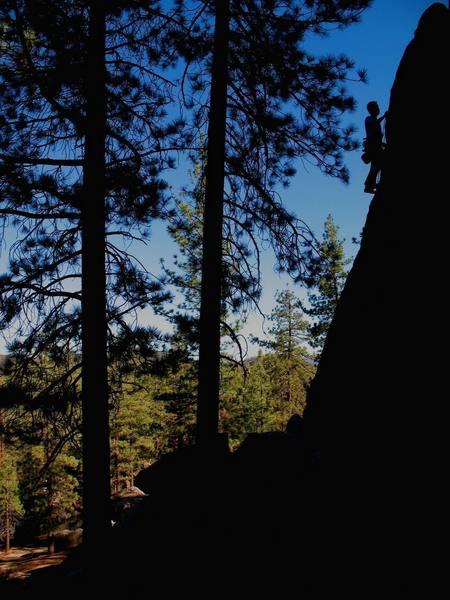 Nearing the top of Powder Keg (5.10a), Holcomb Valley Pinnacles