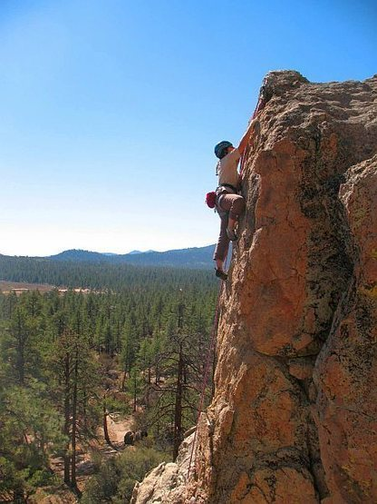 Just below the anchors on Skyline Pillar (5.7), Holcomb Valley Pinnacles