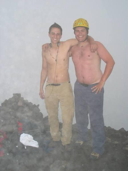 Atop Corazon in Ecuador, with Jordan in the snow.