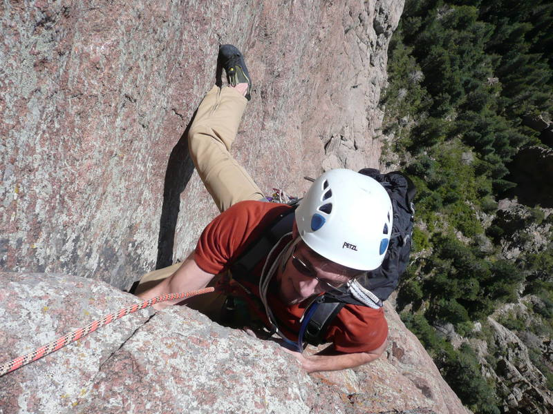Finishing up pitch 4 of Warpy Moople in the Sandias. Nick T. on belay.