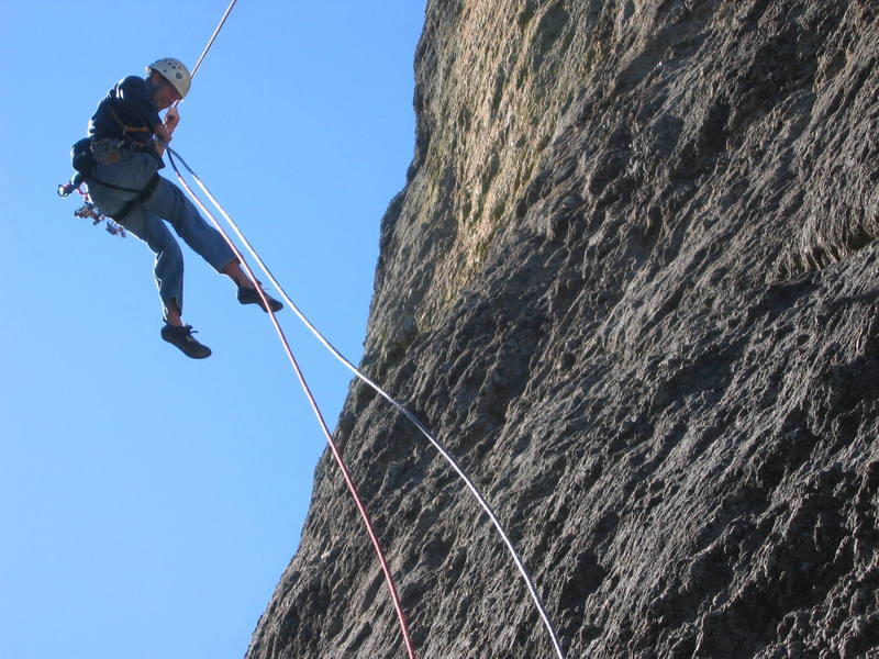 very interesting rappel on a windy day