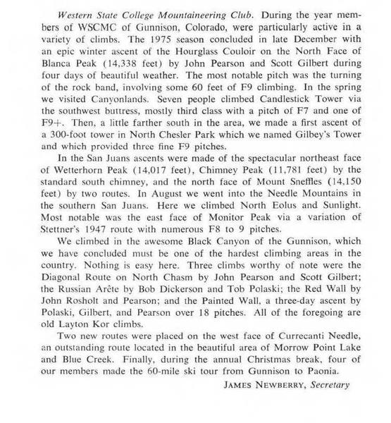 A synopsis from the secretary of the WSC Climbing Club, James Newberry, on the 1975 season.