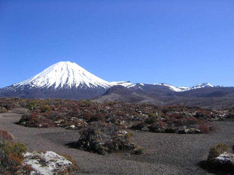 The south face of Mt. Ngauruhoe.  As we discovered on our 26-mile walk, this volcanoe looks exactly the same from every angle...its a perfect cone.